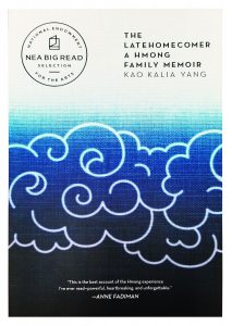 "Picture of ""The Latehomecomer"" by Kao Kalia Yang book cover. It is shades of blue with abstract cloud swirls."